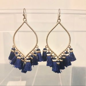 Jewelry - Blue and Gold Tassel Earrings